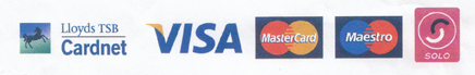 Cards accepted: Lloyds TSB cardnet; Visa; Mastercard; Maestro; Solo