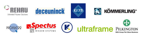 Our suppliers' logos. Rehau, Deceuninck, Veka, Kommerling, Prfile22, Spectus, Ultraframe and Pilkington